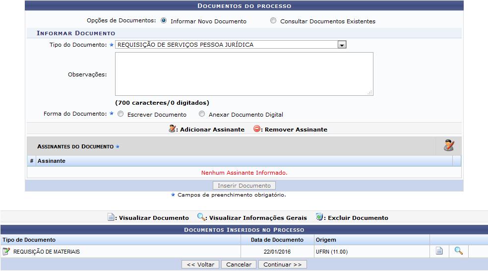 Figura 6: Documentos Inseridos no Processo