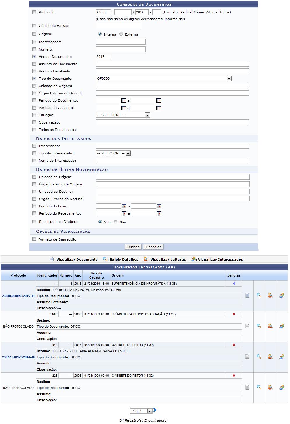 Figura 2: Consulta de Documentos; Documentos Encontrados