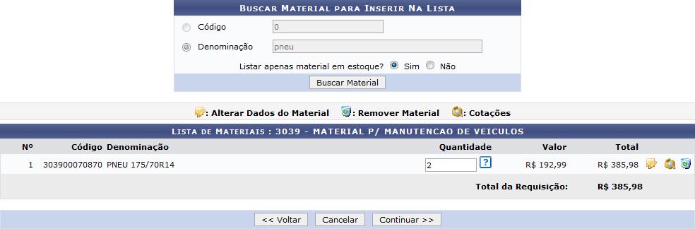 Figura 14: Lista de Materiais; Alterar Material