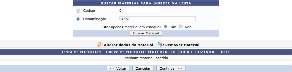 Figura 3: Buscar Material Para Inserir na Lista