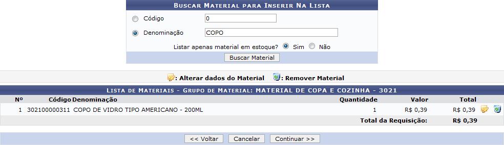 Figura 6: Buscar Material Para Inserir na Lista