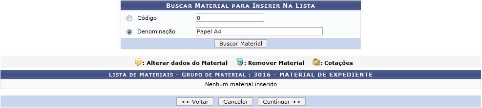 Figura 5: Buscar Material para Inserir Na Lista